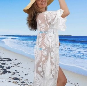 Melanie White Lace Beach Kimono Cover Up
